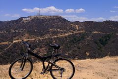 Bike on Hollywood Hills Royalty Free Stock Photography
