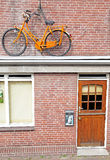 Bike on the house, Delft - Netherlands Stock Photos