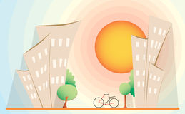 Bike, houses and trees in city on sunset. healthy environment, g Royalty Free Stock Image