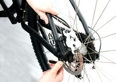 Bike. How to use a quick release Royalty Free Stock Photo