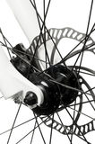 Bike hub. Center of the bike with disc brakes.(Front wheel hub Royalty Free Stock Images