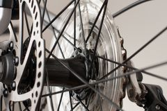 Bike hub of rear wheel, close up view, studio photo. Bike hub of rear wheel, close up view, studio photo Royalty Free Stock Photo