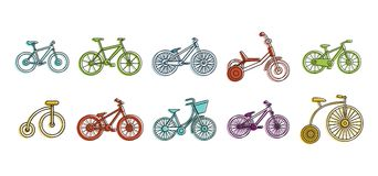 Bike icon set, color outline style. Bike icon set. Color outline set of bike icons for web design isolated on white background Vector Illustration