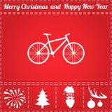 Bike Icon Vector. And bonus symbol for New Year - Santa Claus, Christmas Tree, Firework, Balls on deer antlers stock illustration