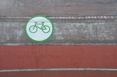 Bike icon on wall in Portland, Oregon. This is a green and white bicycle icon on a building wall in downtown Portland, Oregon royalty free stock photography