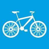 Bike icon white. Isolated on blue background vector illustration Royalty Free Stock Photography