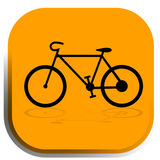 Bike icon. The bike icon on the yellow background. You can use it in the maps, web etc Royalty Free Stock Images