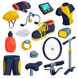 Bike items icons set, cartoon style Stock Image