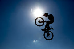 Bike jump silhouette Royalty Free Stock Images