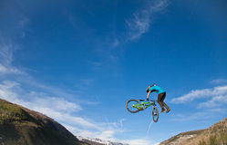 Bike jump during the Slopestyle final. Vail, Colorado, USA - June 3rd 2011 - The Teva Mountain Games Stock Photography