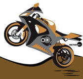 Bike, jumps on the motorcycle and extreme sports. Sportbike. Motobike, sport body kit.  Royalty Free Stock Images