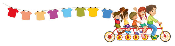 A bike with kids and the hanging clothes. Illustration of a bike with kids and the hanging clothes on a white background Stock Image