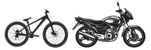 Bike la bicicletta in bianco e nero, sport bike, motociclo Vettore Immagini Stock