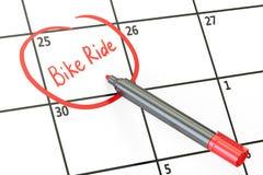 Bike la fecha del paseo en el concepto del calendario, representación 3D Foto de archivo libre de regalías