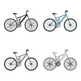 bike la prospettiva biking della montagna delle mani della foresta del fuoco del campo di profondità del ciclista poco profonda C illustrazione di stock