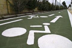 Bike lane. A bike lane painted green Royalty Free Stock Photo