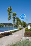 Bike lane. Bike path near Lerez river in Pontevedra, Spain Stock Images