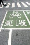 Bike lane. Bicycle lane painted green box and crosswalk Stock Image