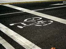 Bike Lane. On William Street in the Melbourne Central Business District royalty free stock photography