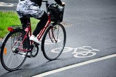 Bike lane. Photo of a Biker on  lane, motion blure Royalty Free Stock Photography