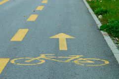 Bike lane. Yellow bike lane sign painted on street Royalty Free Stock Photos