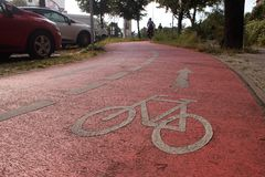 Bike lane. In Berlin, Germany royalty free stock photo