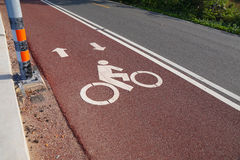Bike lane or bicycle path and coastal road in Thailand Royalty Free Stock Photos