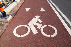 Bike lane or bicycle path and coastal road in Thailand Stock Photography