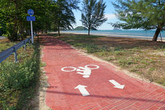 Bike lane or bicycle path and coastal road in Thailand Stock Image