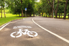Bike lane. Bicycle sign on the road Royalty Free Stock Image
