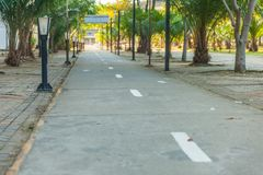 Bike lane and bicycle street lamp. At thailand Royalty Free Stock Photo
