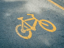 Bike lane,bike symbol. Bike lane symbol, bike lane in a park Stock Photography
