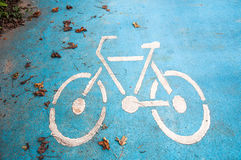 bike lane on blue road  for bicycle or biker Royalty Free Stock Photography