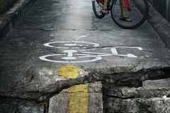 Bike lane broken and crack very danger Royalty Free Stock Image