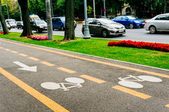 Bike lane. In Bucharest city Stock Images