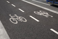 Bike Lane with Bus Stock Photography