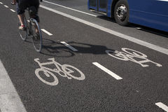 Bike Lane with Bus Royalty Free Stock Photo