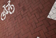 Bike lane in a city. Bike/cycling lane in a city Stock Photo