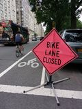 Bike Lane Closed, NYC, USA royalty free stock photos