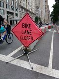 Bike Lane Closed, NYC, USA stock photo