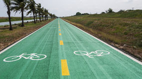 Bike lane color green Royalty Free Stock Images