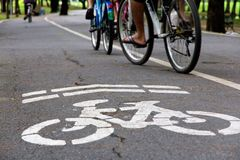Bike lane concept. Close up of Bike lane sign in the park Stock Image