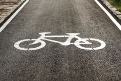 Bike lane. A bike lane for cyclist. Bicycle lane in the park Stock Photography