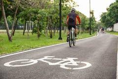 Bike lane. A bike lane for cyclist. Bicycle lane in the park Royalty Free Stock Photo