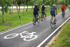 Bike lane. A bike lane for cyclist. Bicycle lane in the park Stock Images