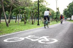 Bike lane. A bike lane for cyclist. Bicycle lane in the park Stock Photo