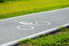 A bike lane for cyclist. Bicycle lane in the park Royalty Free Stock Photography