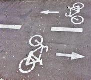Bike lane. Designation bike lane on a street in Madrid Stock Photo