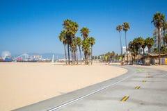 Beautiful beach in California. Bike lane down the Venice beach in California LA stock photography