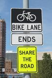 Bike Lane Ends Sign. Bike Lane Ends-Share the Road Street Sign Stock Photography